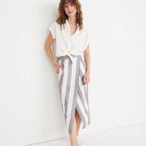 Madewell Striped Overlay Wrap Skirt